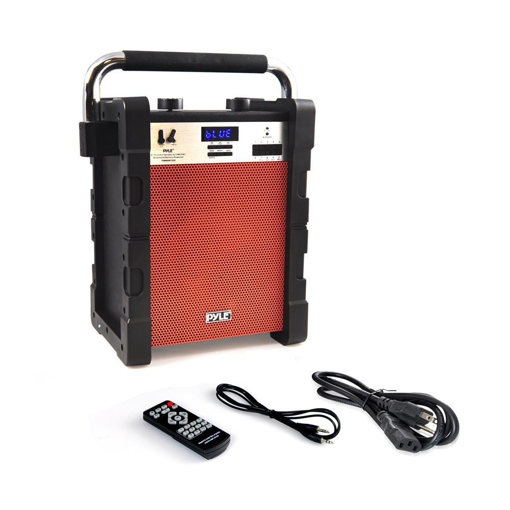 Pyle jobsite radio Portable Heavy-Duty Wireless Bluetooth AM/FM Radio USB SD Card reader, Orange (PWMABT550OR)