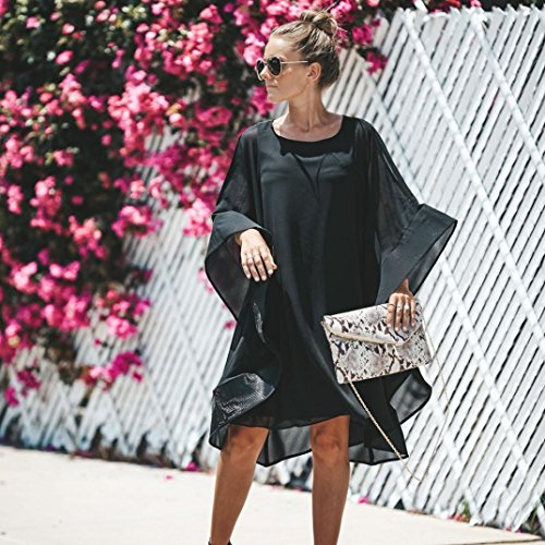 Clearance! Mini Dress,Showking Women's Batwing Sleeve Solid Chiffon Cloak Cape Dress (XL) by Showking_women Dress (Image #3)