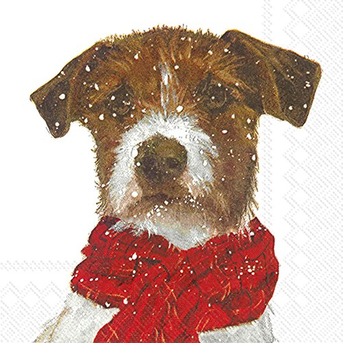 Ideal Home Range C744800 Christmas Cocktail Napkins, Archie Dog (Dog Stove)