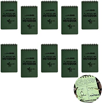 Pack of 5 Army Green Tactical All weather Waterproof Pocket Notebook