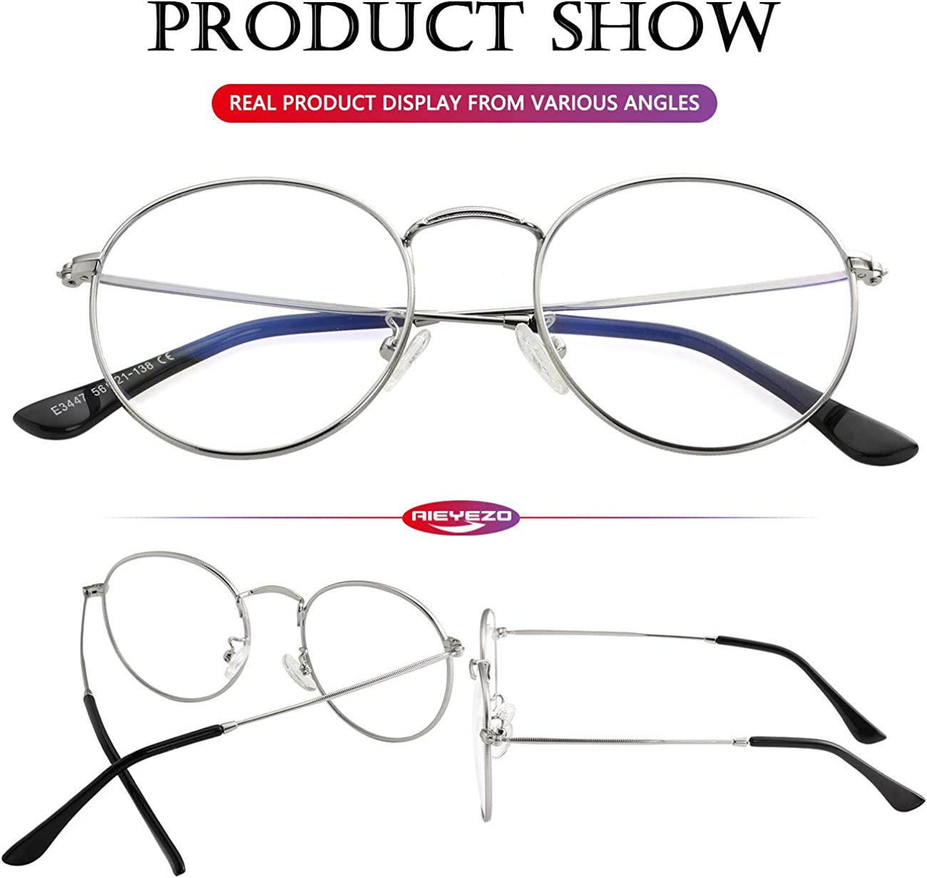 Blue Light Blocking Glasses Classic Round Glasses Vintage Circle Metal Eyeglasses Frames 100/% Anti-Blue Light Lens