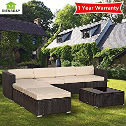 Diensday 5 Piece 5-7 Pieces Cushioned Outdoor Patio PE Rattan Wicker Sofa Sectional Furniture Set Lawn Backyard Furniture (7 Pieces, Dark Grey, Aluminum)