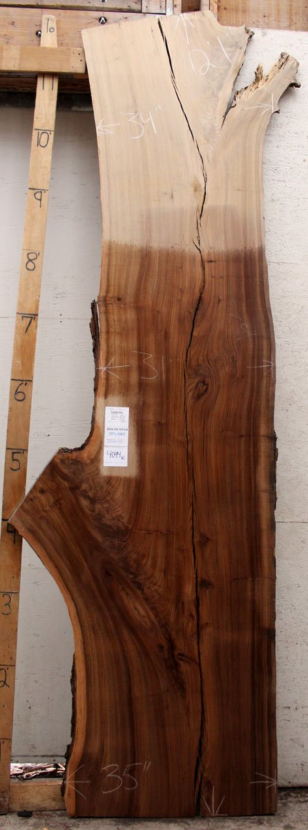 English Elm Live Edge Slab Countertop Custom Rustic Wood Tabletop Natural Raw Unfinished Bar Top Wooden DIY Project 4094x1