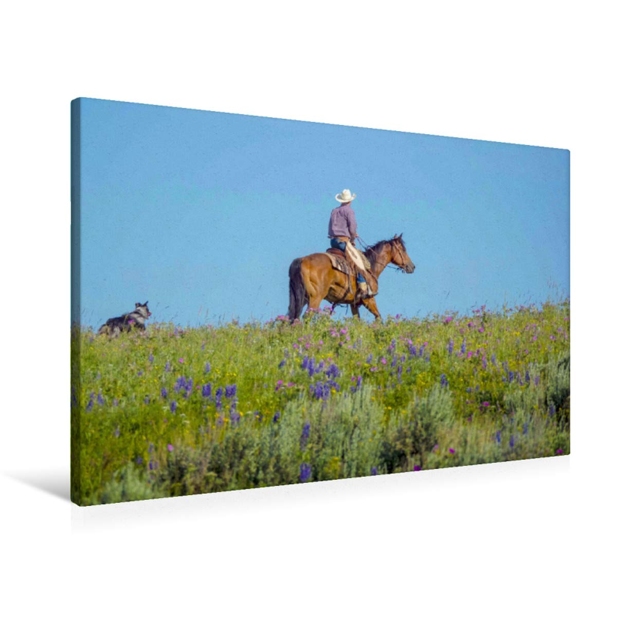 90x60 Premium Textile Canvas 90 x 60 cm Horizontal Cowboy with Dog and Horse