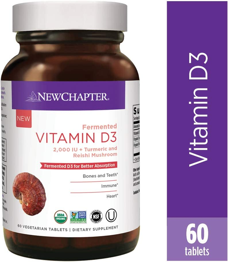 New Chapter Vitamin D3, Fermented Vitamin D3 2, 000 Iu, One Daily with Whole-Food Herbs + Adaptogenic Reishi Mushroom for Immune Support + Bone Health + Heart Health, 100% Vegan, Gluten-Free, 60Count