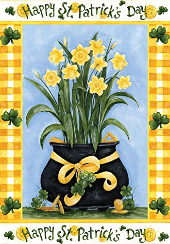 """Happy St. Patrick's Day House Flag Pot of Flowers 28"""" x 40"""""""