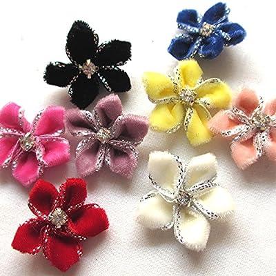 Chenkou Craft 40pcs Velvet Ribbon Flowers Bows Rhinestone Appliques Wedding Decoration Lots A0451