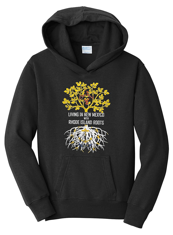 Tenacitee Girls Living in New Mexico with Rhode Island Roots Hooded Sweatshirt