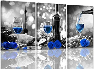 Wine Decor Kitchen Canvas Art Blue Wine Rose Artwork for Home Walls Black and White With Blue Wine Painting Printed Rose Art Dining Room Decor Blue Kitchen Pictures Wall Decor Stretched 12x16inchx3