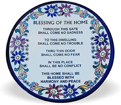 Art Judaica Ceramic Blessing for The Home in Wall Decor Jerusalem Pottery English