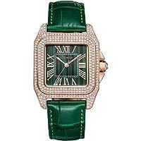 Pan Dial Acolchado con Cristales incrustados - Cristales de Swarovski Bisel con Correa de Piel de satén Reloj Elegante para Mujeres - Regalo del día de la Madre
