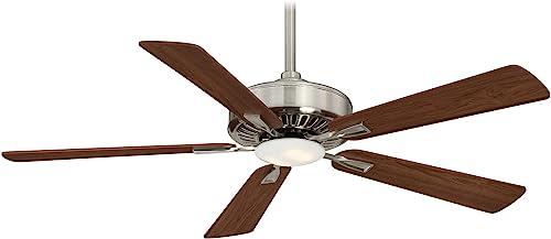Minka Aire F556L-BN DW Protruding Mount, 5 Medium Maple Dark Walnut Blades Ceiling fan with 17 watts light, Brushed Nickel Dark Walnut