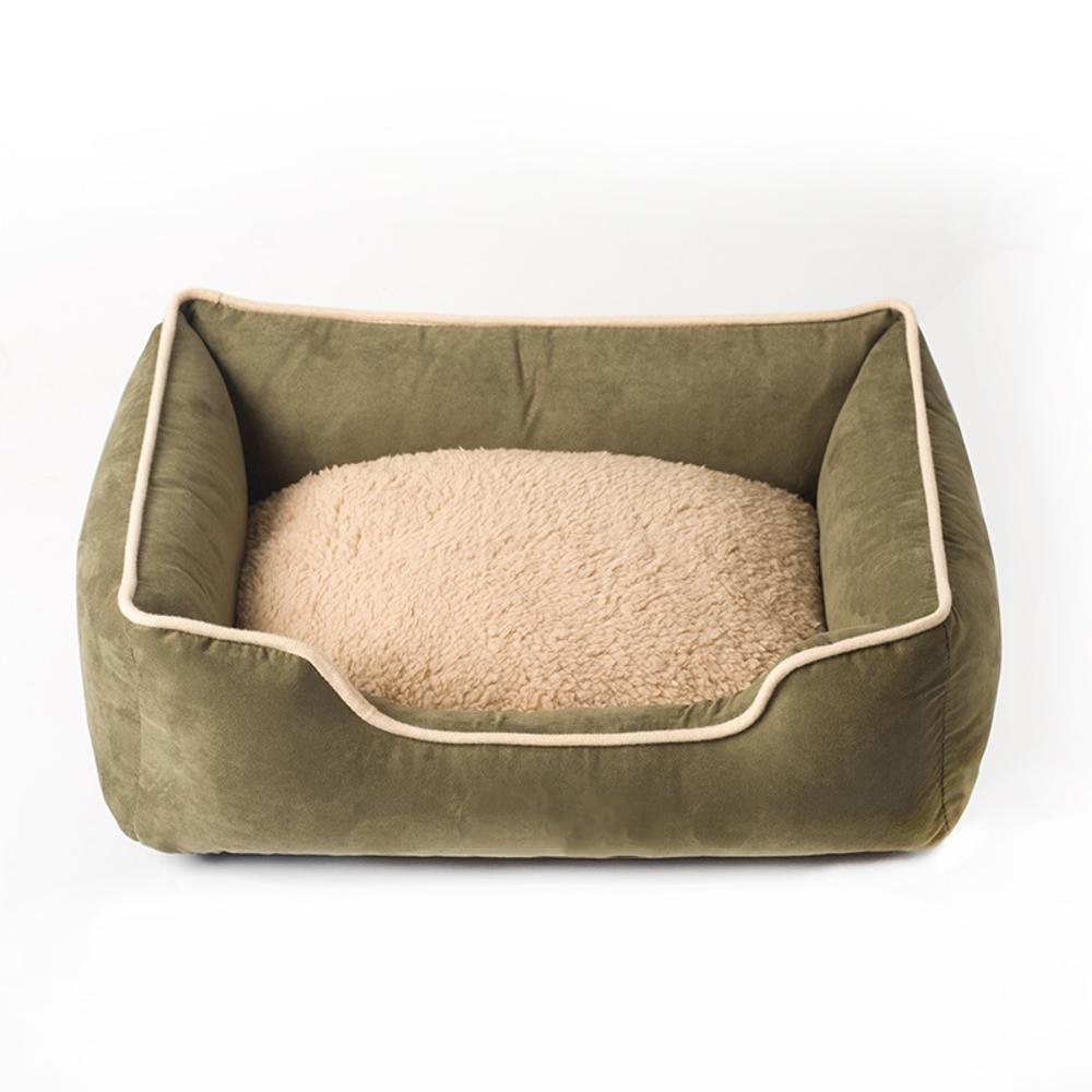 C 9070cmWUTOLUO Pet Bolster Dog Bed Comfort Suede Square Cat Litter Kennel (color   C, Size   90  70cm)