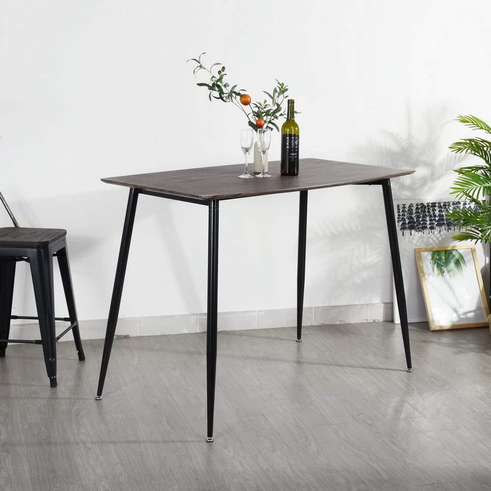 FurnitureRModern Dining Table Rectangular Top Wood Metal Tube with Black Powder Coating