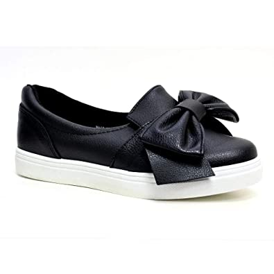 23340a0e8 New Womens Flat Casual Sneakers Comfy Bow Slip On Trainers Plimsolls Shoes   Amazon.co.uk  Shoes   Bags