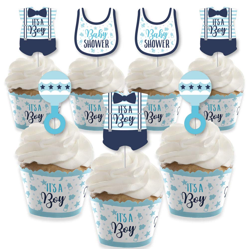 It's a Boy - Cupcake Decoration - Blue Baby Shower Cupcake Wrappers and Treat Picks Kit - Set of 24 by Big Dot of Happiness