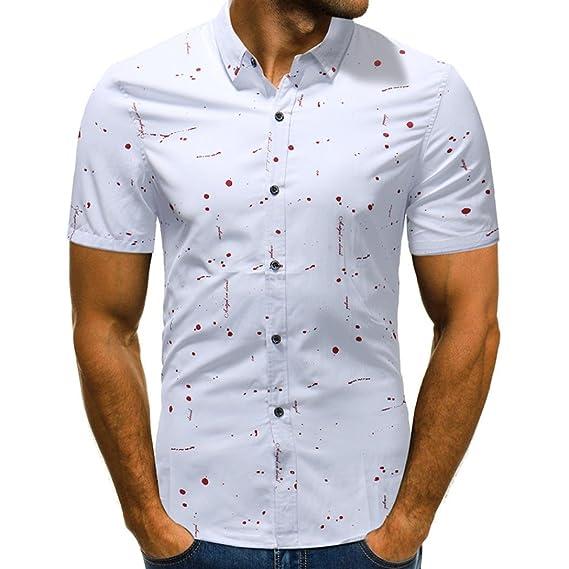 Hevoiok Herren Hemd Slim Fit Sommer Kurzarm-Shirt Tupfen Knopf Kurzarmhemd  Freizeit Oberteile  Amazon.de  Bekleidung 069567a5dd