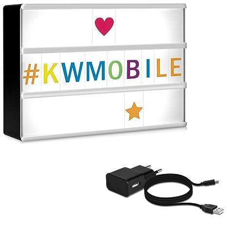 kwmobile caja de luz cinematográfica LED A6 - con 126 letras coloridas símbolos números - con fuente de alimentación - lámpara lightbox