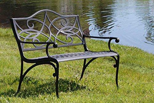 The Outdoor Patio Store Commercial-Grade Cast Aluminum Garden Bench (Cast Aluminum Benches Outdoor)