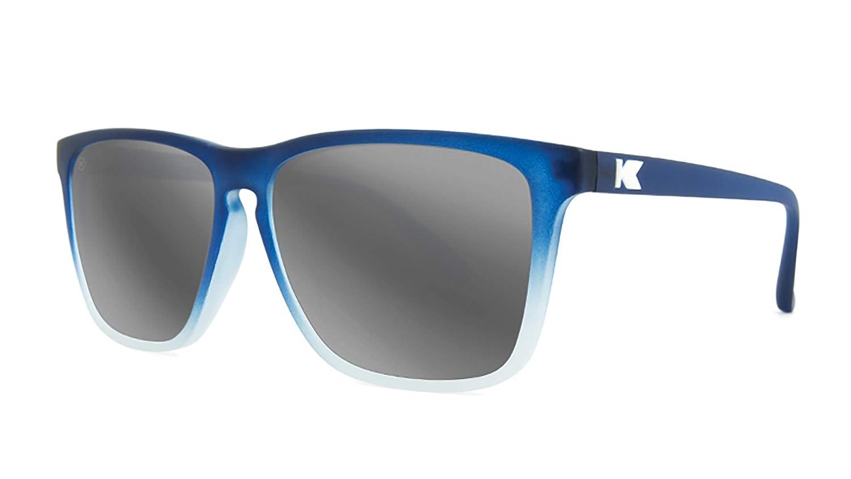 8c7b996735 Amazon.com  Knockaround Fast Lanes Polarized Sunglasses With Blue And White  Frames Silver Reflective Lenses  Clothing
