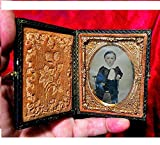 VICTORIAN AMBROTYPE 163 yr Old Signed by Artist, Original Little Boy with Ruffled Collar, Artist Tinted Gutta Percha Double Glass Gold Color Pinchback Framed.