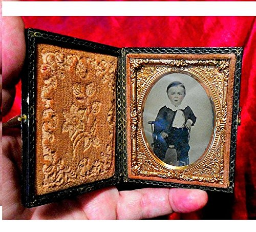 Artist Signed Framed - VICTORIAN AMBROTYPE 163 yr Old Signed by Artist, Original Little Boy with Ruffled Collar, Artist Tinted Gutta Percha Double Glass Gold Color Pinchback Framed.