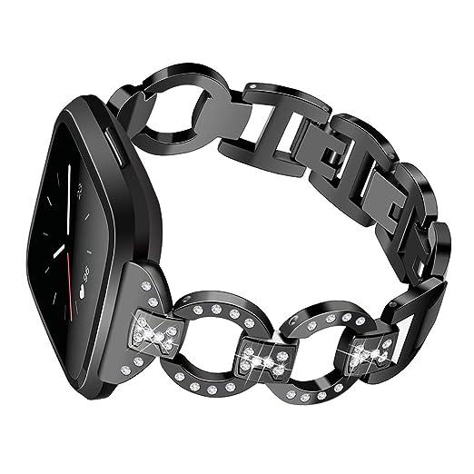 Banda de Acero Inoxidable para Versa Fitbit para Las Mujeres Bling de la Brida de sustitución con Diamantes de imitación Reloj Negro Banda: Amazon.es: ...
