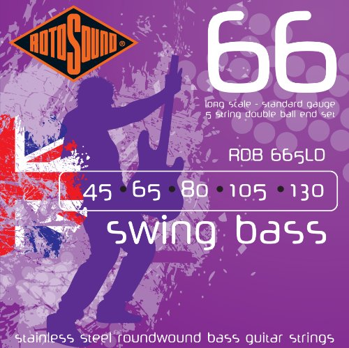 (Rotosound RDB665LD Swing Bass 66 Stainless Steel Double Ball End 5 String Bass Guitar Strings)