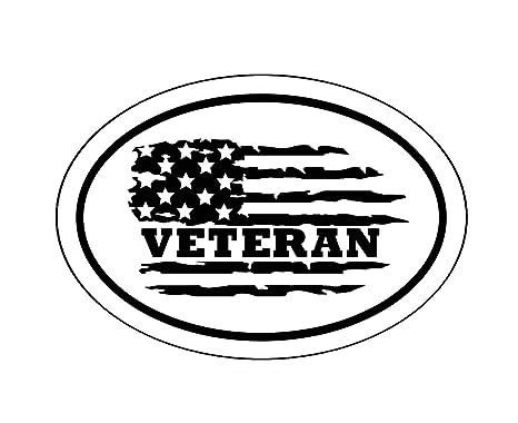 WickedGoodz Oval American Flag Proud Veteran Vinyl Decal Military Bumper Sticker Perfect Veteran