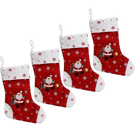 com-four® Juego de Fieltro Santa navideño XL de 4 XL, con Lazo en el Eje para Colgar (30 x 19 cm - 04 Piezas): Amazon.es: Hogar