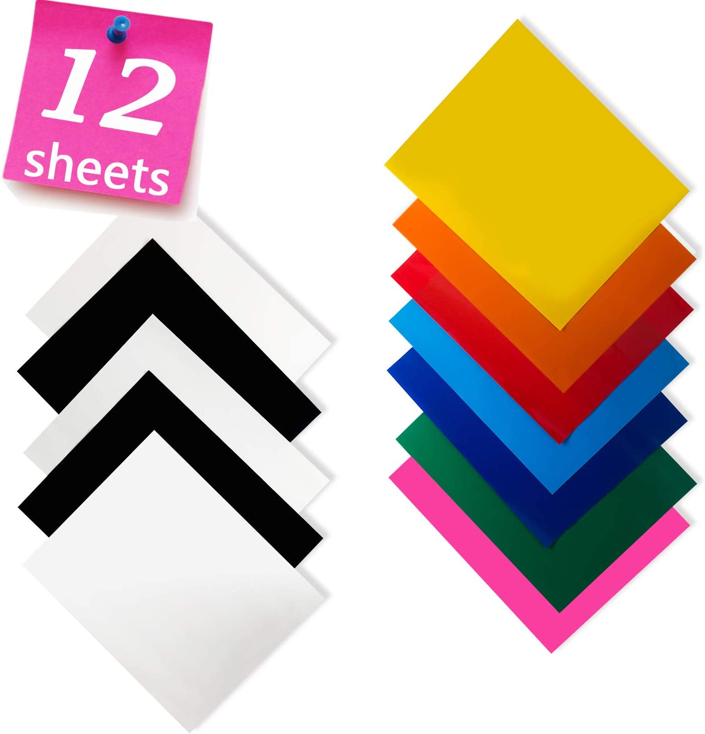 KINGSOW 10pcs Black Premium Heat Press Transfer Vinyl 12 x 10 Sheets Iron on Solid Color Easy to Weed HTV for Clothing Garment DIY T-Shirts