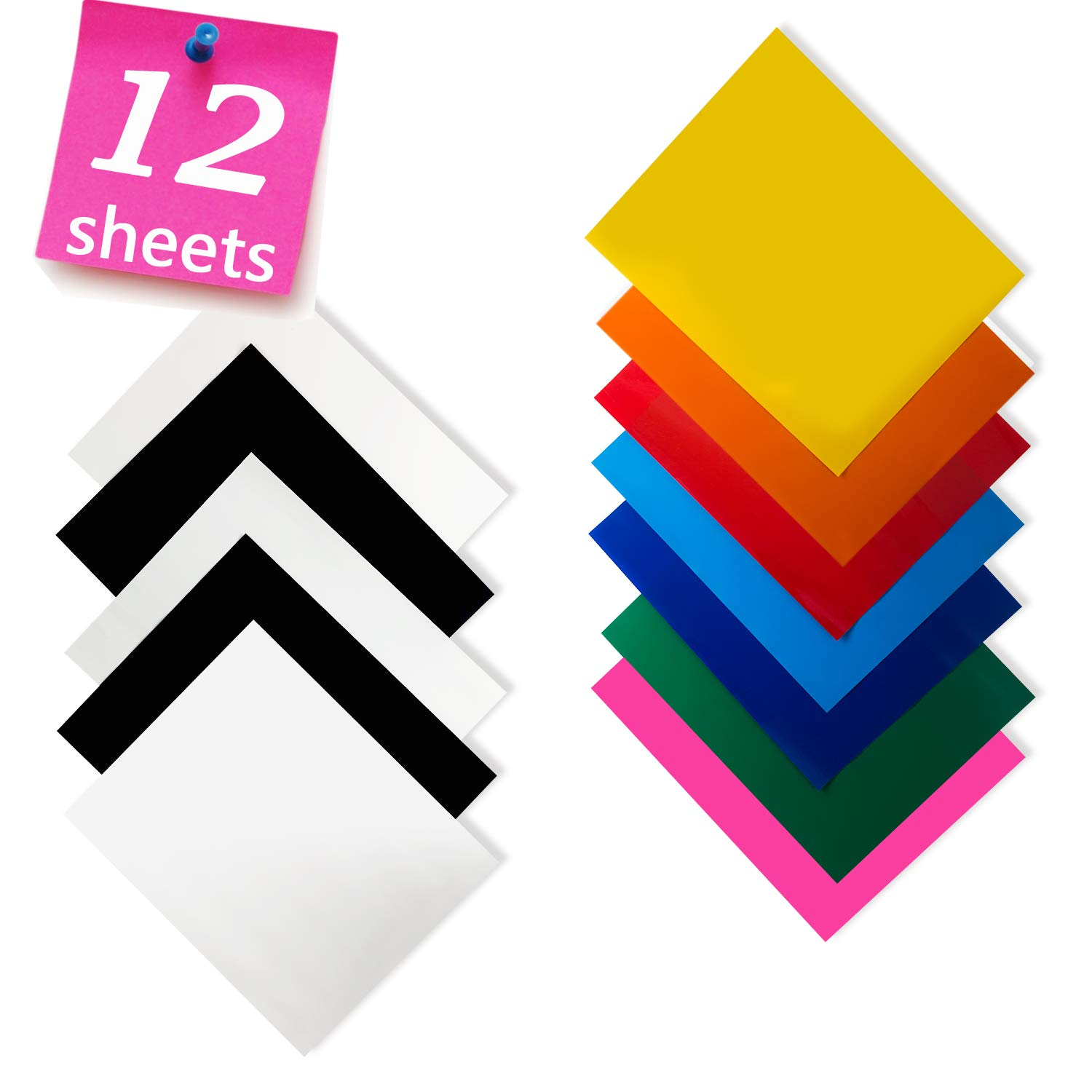 Heat Transfer Vinyl for T-Shirts 12×10″ 12 Sheets-Iron On Vinyl HTV Bundle