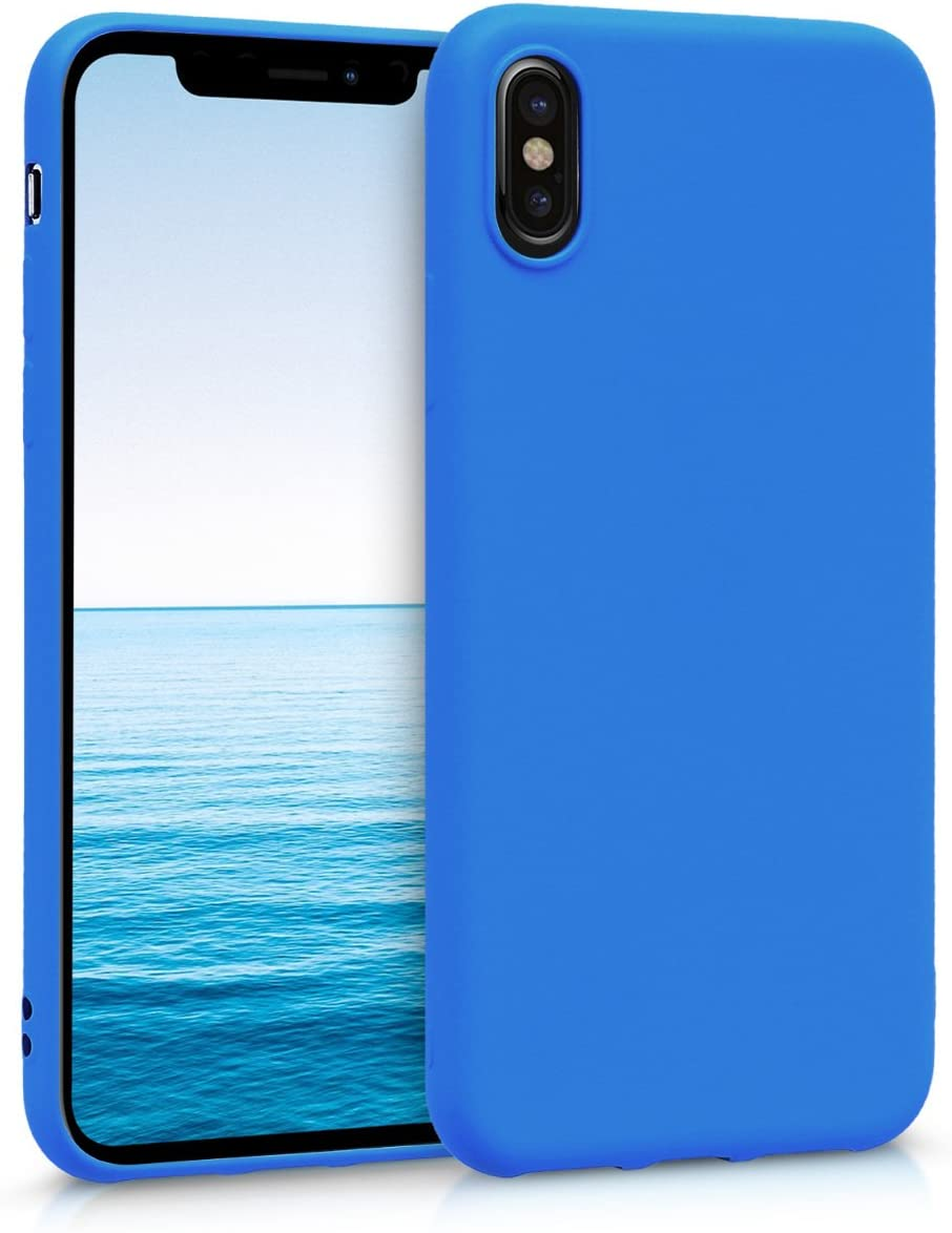 kwmobile TPU Case Compatible with Apple iPhone X - Case Soft Thin Slim Smooth Flexible Protective Phone Cover - Neon Blue