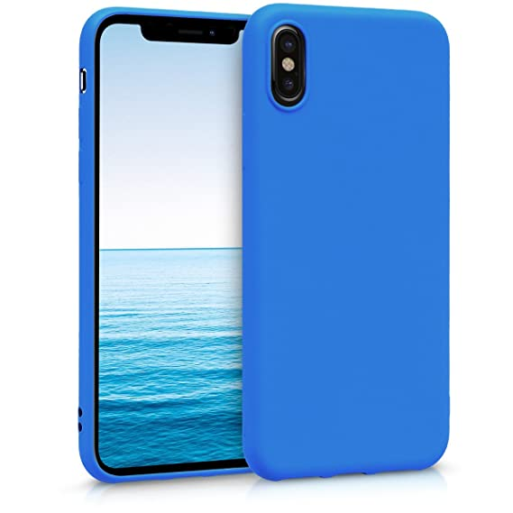 reputable site 01ca3 bf3bc kwmobile TPU Silicone Case Compatible with Apple iPhone X - Soft Flexible  Protective Phone Cover - Neon Blue