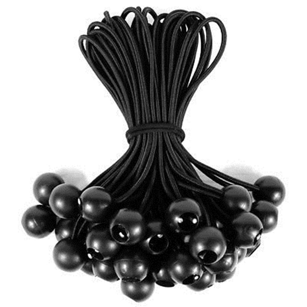 20 Pack Omlopp Ball Bungee 8.5 inch Black Bungee Cord Heavy Duty Tie Down Cord