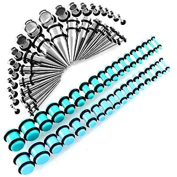 Ensanchadores De Oreja Kit 72 Piezas De Dilatadores para Orejas Acero Inoxidable Túneles 14G-00G Estiramiento Dilatación,Mar Azul Cian Color: Amazon.es: ...
