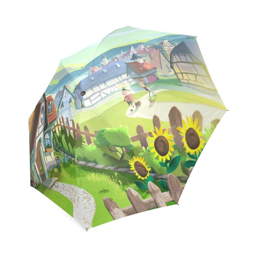 Customized Unique Small Town Folding Rain Umbrella Parasol Sun