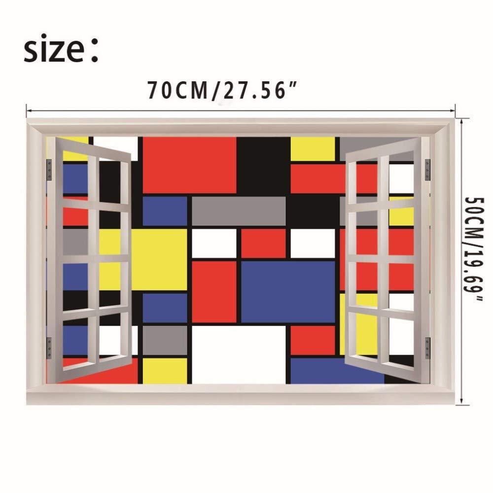 Niazhy Etiqueta De La Pared Del Arte Del Cubo De Rubik Ventana Falsa Removible Mural Dormitorio Sala De Estar Pared Del Pasillo Decoración Calcomanía (50X70 ...