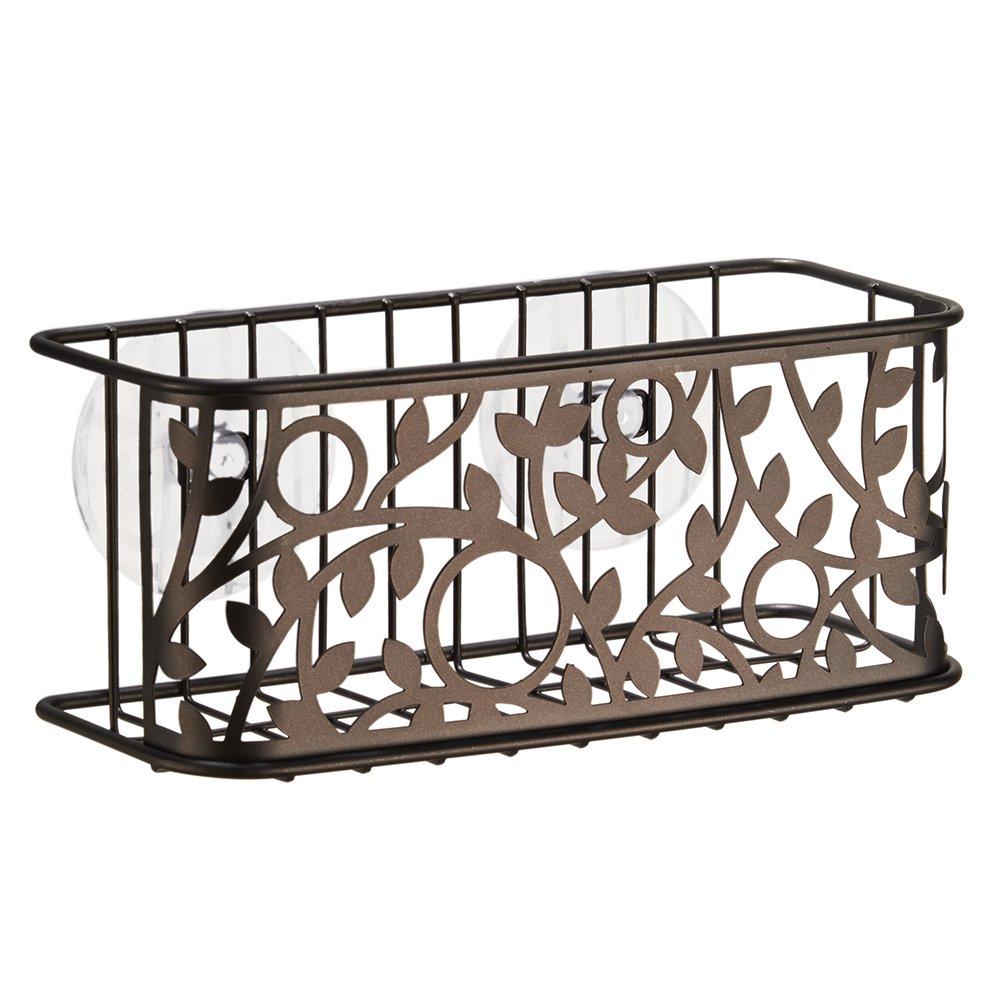 iDesign Vine Suction Bathroom Shower Caddy Basket for Shampoo, Conditioner, Soap - Bronze
