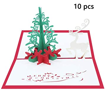 BAIVIT Estéreo De Navidad 3D Tarjeta De Navidad 10 Paquete ...