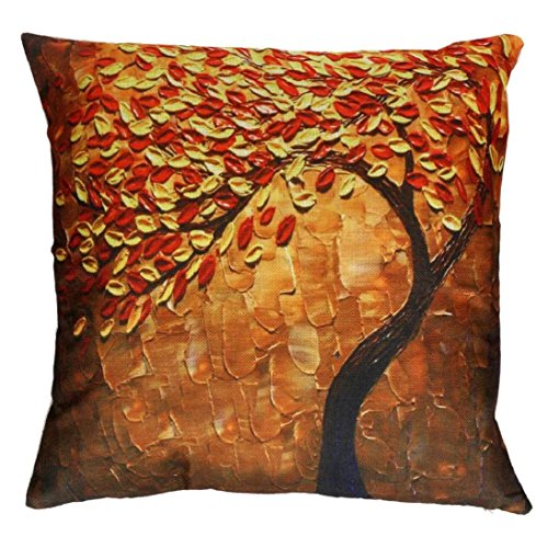 Price comparison product image Fheaven Painting Large Tree and Beautiful Flower Cotton Linen Throw Pillow Case Cushion Cover Home Sofa Decorative 18 X 18 Inch (Orange)