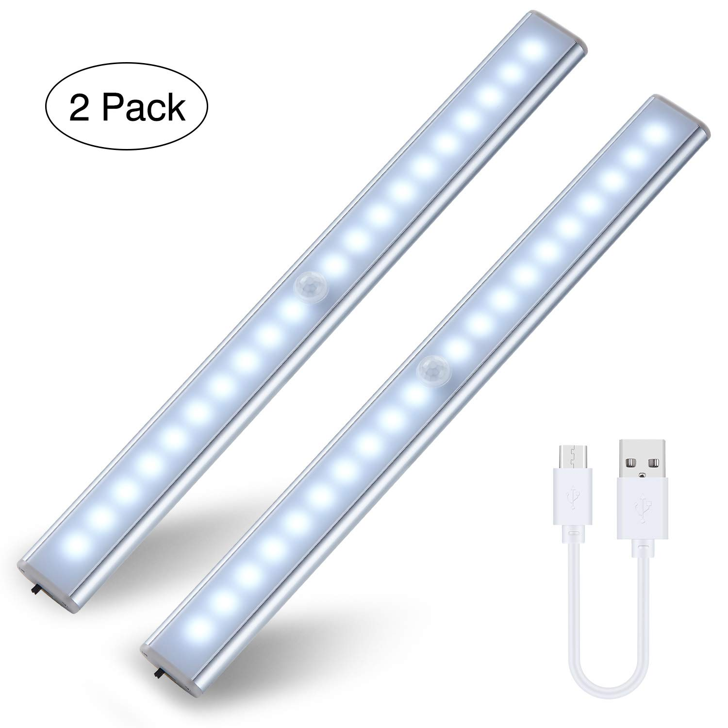 Motion Sensor Lights Rechargeable 20-LED Shareus Closet Light Magnetic Stick On Anywhere LED Night Lights Under Cabinet Lighting 2 Pack