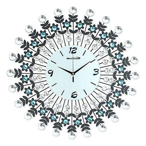 "NEOTEND 3D Wall Clock 98pcs Diamonds Decorative Clock White Diameter 23.6"""