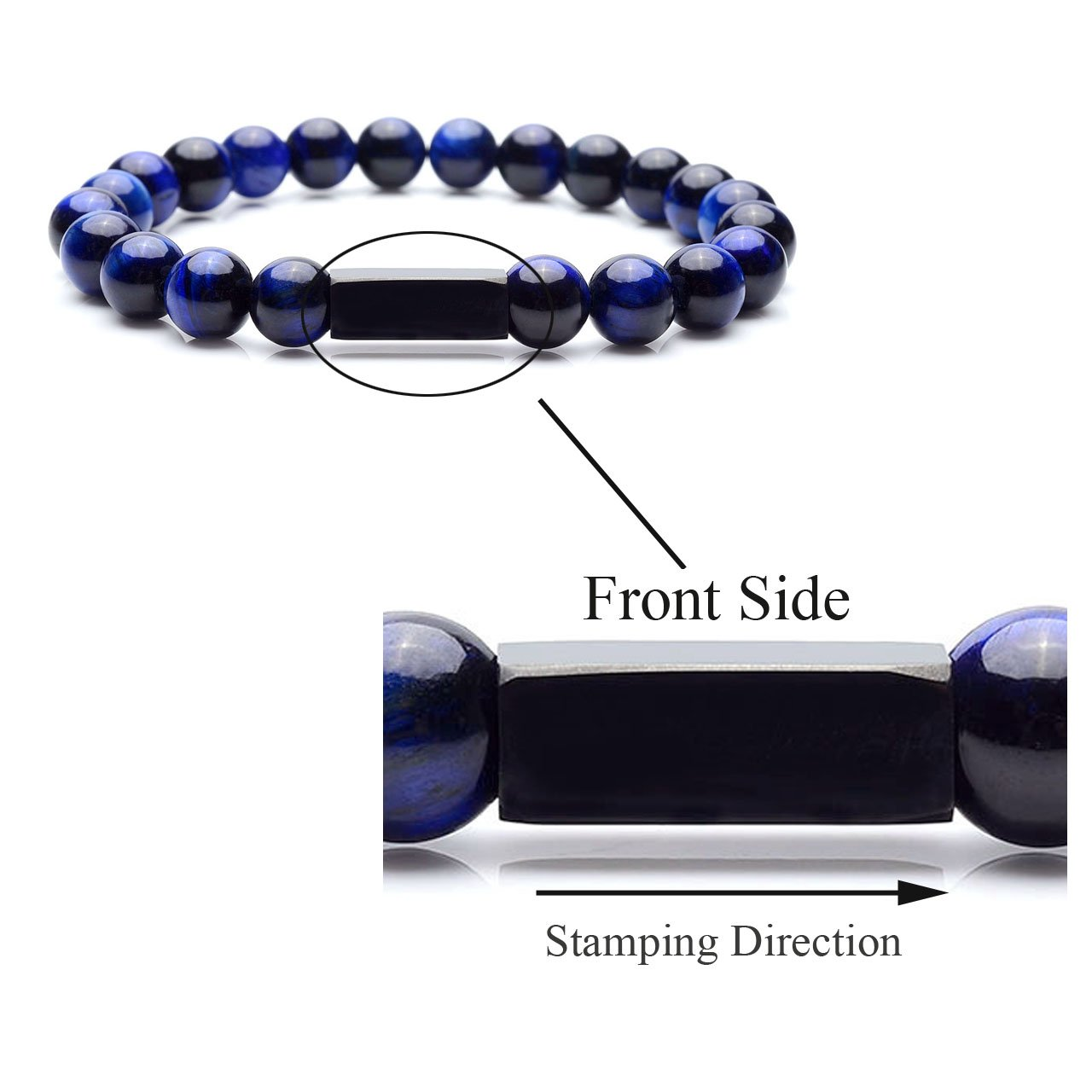 Personalized Master Free Engraving Custom Mens Womens Natural Gemstone Distance Bracelets Round Beads Healing Crystal Stretch Bracelet Set by Personalized Master (Image #4)