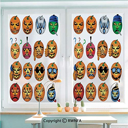 RWNFA Non-Adhesive Privacy Window Film Door Sticker Carved Pumpkin with Emoji Faces Halloween Humor Hipster Monsters Art Glass Film 22.8 in by 35.4in(58cm by 90cm),Orange -