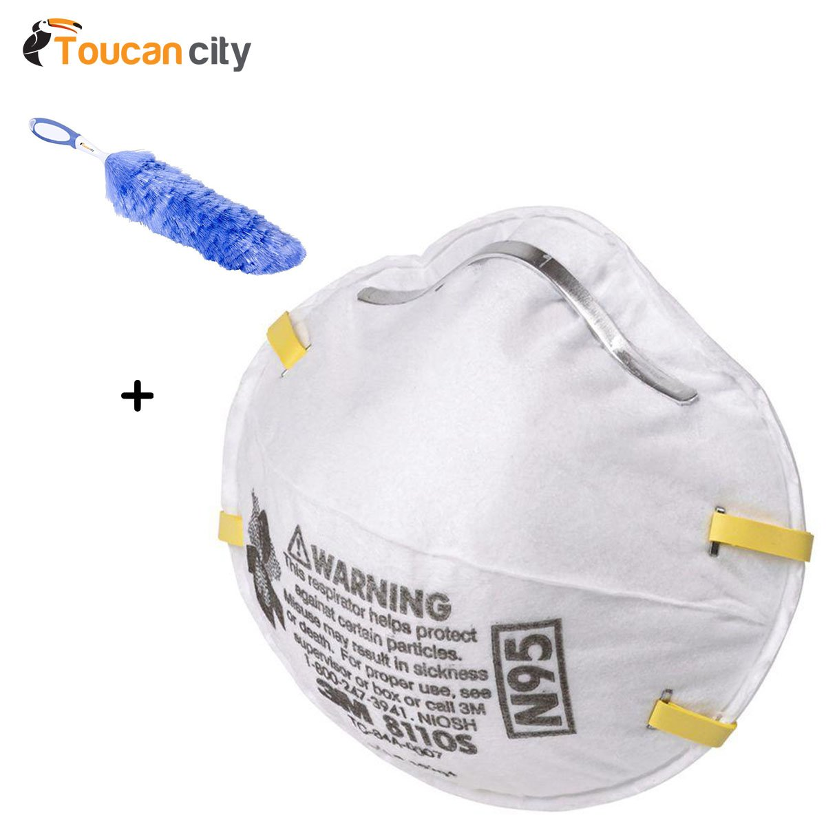3M N95 Sanding Painted Surfaces Respirator Dust Masks ((20-Pack) (Case of 4)) 8110PB1-A and Toucan City Flexible Static Duster