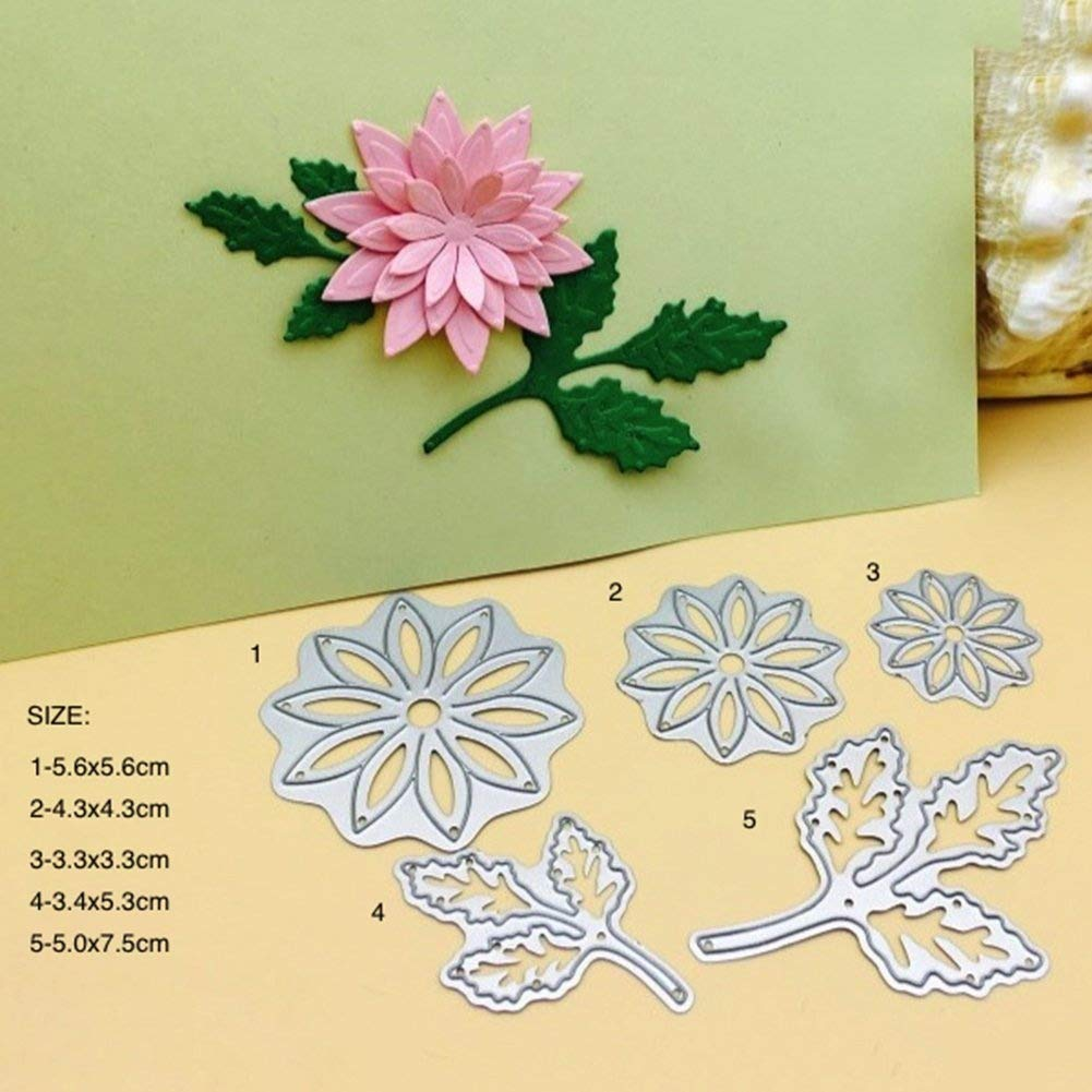 5Pcs Flower Leaves Die Cuts Metal Cutting Dies Stamps Embossing Stencil for Card Making Scrapbooking Album Paper DIY Crafts Household products Kitchen tools and accessories