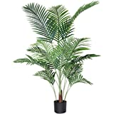 Fopamtri Artificial Areca Palm Plant 4.6 Feet Fake Palm Tree with 15 Trunks Faux Tree for Indoor Outdoor Modern Decor Feaux D