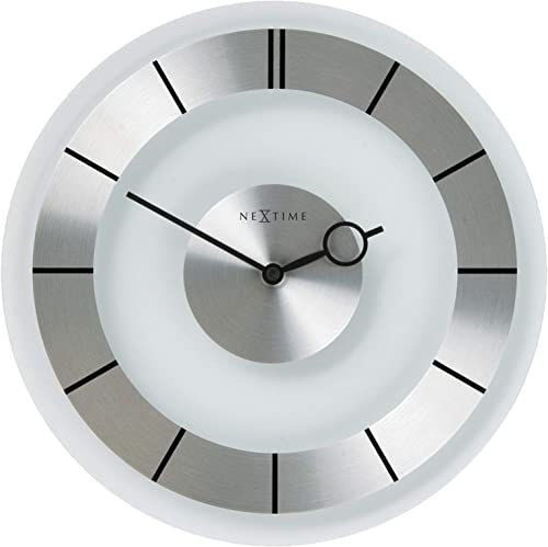 Nextime Unek Goods Retro Wall Clock in Glass and Stainless Steel, Round, Battery Operated