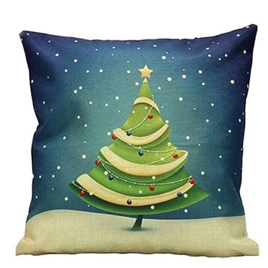 Patrón de dibujos animados Tema de Navidad funda para cojín de lino manta funda de almohada Funda de almohada, Lino, ver imagen, 7